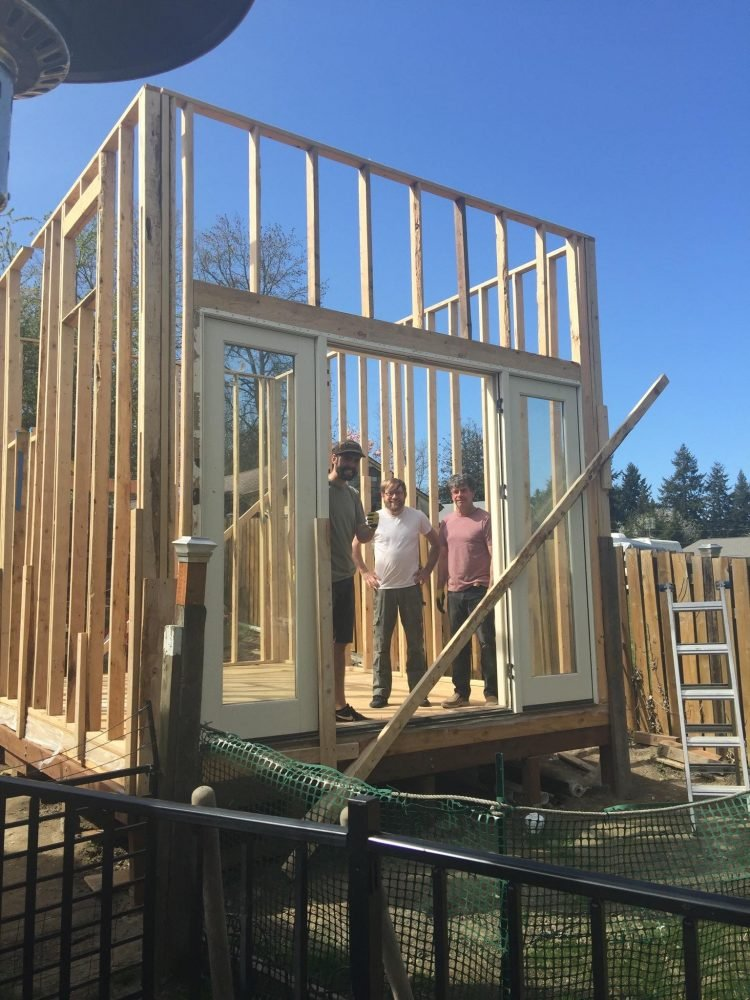 The family starts the build out of their ADU for their son to live in while he studies for grad school.